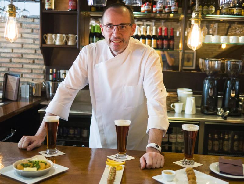 Cata de cervezas belgas con maridaje gourmet Madrid | Cheff Etienne Bastaits | Restaurante Gourmand Atelier Belge
